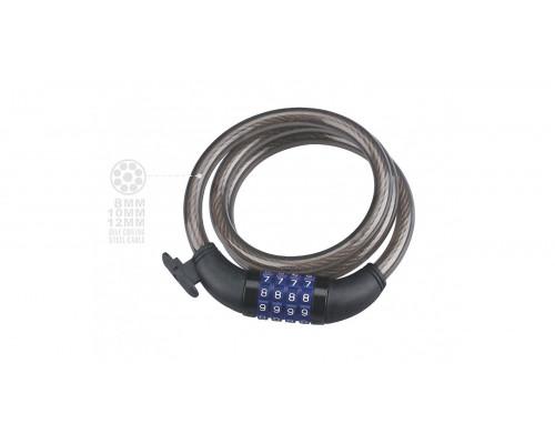 Пропивоугонный велозамок Neko, NK-523-10 спираль код 10х1800мм